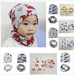 Barato Chapéus De Animal Recém-nascido-INS Newborn Hat Neckerchief 2PCS Set Bebé infantil Baby Girl Boy Animal Geometry Printed Scarves Chapéus Acessórios para bebé 11 design KKA2230