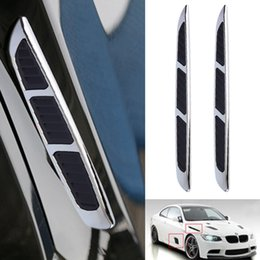 Discount fiber vented - Wholesale- 2pcs Universal 3D Sticker Car Chrome Grille Shark Gill Simulation Air Flow Vent Fender Decal Auto Decoration