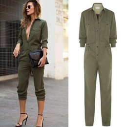 Barato Longos Macacões De Moda-New Fashion Women Jumpsuit 2017 Sexy Bodycon Party Lapel Long Sleeved Playsuit Trousers Elegante Exército Green Rompers