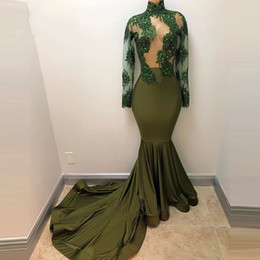 EmErald arts online shopping - Vintage Emerald High Neck Sheer See Through Long Sleeve Mermaid African Prom Dresses Crystals Satin Real Picture Long Evening Dress