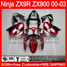 Zx9r fairing red online shopping - 8Gifts Colors For KAWASAKI NINJA ZX R ZX9R CC NO41 red black ZX R ZX900 ZX900C ZX R Fairing