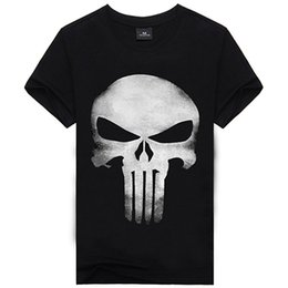 Camisetas Al Por Mayor Del Animal Baratos-Al por mayor- 2016 Nuevo Producto The Punisher Movie Skull Logo Negro Camisetas para hombre Tee