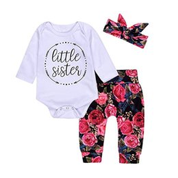 suit baby sets autumn 3pcs NZ - Mikrdoo 2017 Newborn Clothes Suits Cotton Baby Girls Little Sister Arrows Long Sleeve Tops Romper Flower Pants Headband 3Pcs Outfits Top Set
