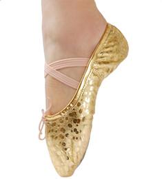 Niñas PU Zapatillas de ballet de cuero con lunares de Leahter Niños Sala de baile del vientre Suela dividida Gimnasia Yoga Zapatos de baile en venta