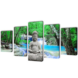 buddha handed oil painting 2019 - Framed Huge 5 Panel hand-painted Modern Abstract Art Buddha Decor Wall Oil Painting On Canvas Multi sizes 528