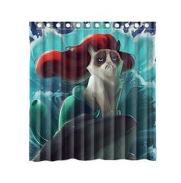 $enCountryForm.capitalKeyWord Canada - Customs 36 48 60 66 72 80 (W) x 72 (H) Inch Shower Curtain Grumpy Cat of Little Mermaid Waterproof Polyester Fabric Shower Curtain