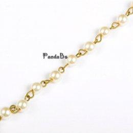 6 мм ювелирные изделия ручной работы компонент круглые стеклянные жемчужные бусины цепи для ожерелья браслеты решений, античная бронза железа Eyepins, 39.3
