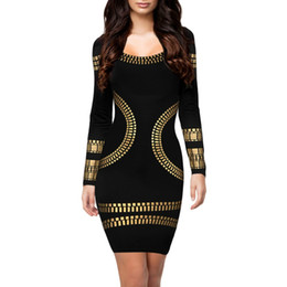 Chinese  Wholesale- New kim kardashian dress O-neck long sleeve hot stamping office dress robe vestidos women's casual sexy party bodycon dresses manufacturers