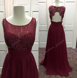 lace chiffon burgundy bridesmaid dress Australia - In Stock Burgundy Bridesmaid Dresses 2017 with Jewel Neck & Sexy Open Back Real Photos Red Wine Long Formal Event Dress Lace & Chiffon Guest