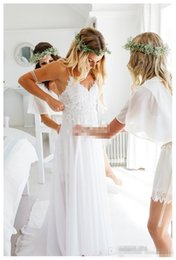 $enCountryForm.capitalKeyWord NZ - Sexy White 2019 Spaghetti Straps Chiffon Beach Wedding Dresses Hot Lovely Lace Bodice Summer Cheaper Boho Bridal Gowns Hi-Lo Backless Custom