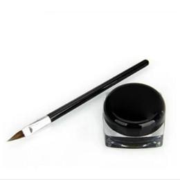 China New Waterproof Eye Liner Pencil Make Up black Liquid Eyeliner Shadow Gel Makeup + Brush Black maquiagem cheap wholesales eyeliners suppliers
