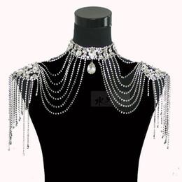$enCountryForm.capitalKeyWord UK - 2017 New luxury Epaulet Jacket Bridal Lace Shoulder Chain Bracelets Sets Crystal Jewelry Necklace Wedding Bridal Accessories Dresses Straps