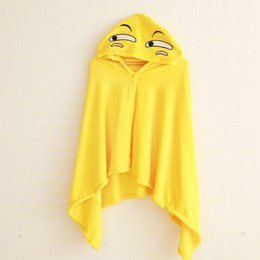 Emoji blankEts online shopping - Small Face Blanket Creative Design Yellow Emoji Shawl Halloween Cosplay Men And Women Cloak Comfortable pp C R