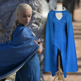 games thrones costume 2019 - Game of Thrones Cosplay Show Costume Blue Dress Cloak 5 Sizes Christmas Halloween Party Costume Christmas gift discount