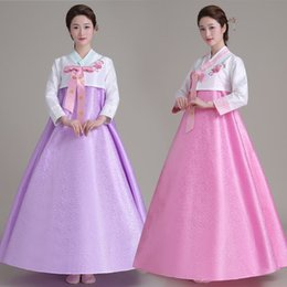 Robes Coréennes Jupe Supérieure Pas Cher-Q228 Top + Jupe + Bandes de cheveux Femmes Costume Traditionnel Coréen Costumes De Mariage De La Cour Costume National Hanbok Asie vêtements 16