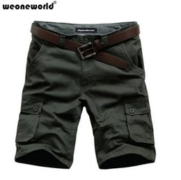 Barato Total Mens Casual-Wholesale-WEONEWORLD Plus Size 40 42 44 46 Mens Shorts Shorts para Homem Bermuda Loose Casual Cargo Novo 2016 Summer Fifth Trousers