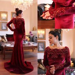 VelVet abaya online shopping - Arabic Islamic Abaya in Dubai Muslim Prom Dresses Scoop Neck Dark Red Velvet Lace Crystal Beads Long Sleeve Mermaid Party Prom Gowns