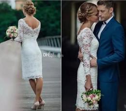$enCountryForm.capitalKeyWord NZ - Charming Short Full Lace Wedding Dresses 2018 Long Sleeves Sheath Knee Length Country Beach Dress For Bridal Gowns Vestidos De Noiva Cheap