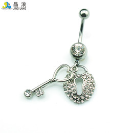 Fashion Jewelry Key Ring Canada - Promotion! Brand New Wholesale Price Fashion Metal Silver Rhinestone Key and Lock Belly Button Rings For Women Body Jewelry