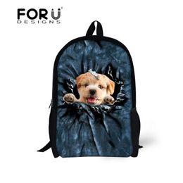 Character Backpacks For Boys Canada - FORUDESIGNS 16 inch Children Backpack 3D Animal Dog Print School Bag for Teenage Boy Girls Travel Back Pack Mochila Escolar