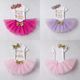 Baby Girl Bubble Breloques Pas Cher-Ins Baby Girls Letter Rompers + TUTU Jupes 2PCS Sets Infant Toddler Girl Bubble Skirt Princess Dress Baby Summer Cotton Ourfits