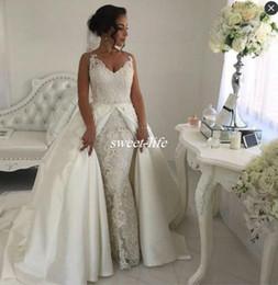Princess Wedding Dresses Detachable Skirt Canada - Two in One Lace Wedding Dresses with Detachable Skirts White Satin Sleeveless 2017 Vintage Garden Wedding Gowns Formal Bride Dress Plus Size
