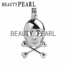 Wholesale 5 Pieces Skull Skeleton Charm Pendant Love Wish Pearl Gift Sterling Silver Skull Cage Pendant