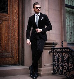 Barato Manto Preto Smoking-New Arrival Black Tuxedos Slim Fit Trajes de casamento para homens Dois botões Groom Wear Two Pieces Cheap Custom Fashion Suit (Jacket + Pants)