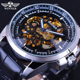 online shopping Winner Fashion Stylish Transparent Design Golden Skeleton Inside Mens Watches Top Brand Luxury Automatic Mechanical Watches
