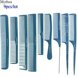 hair cutting combs NZ - Carbon Hair Comb 9 pcs Lot Blue Hair Cutting Combs Set, Hair Tail Comb in Different Design For Professional Usage, T&G-9