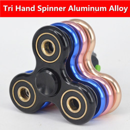 tri spinner fidget toy 2019 - Tri-Spinner Fidget Toy Brushed plating aluminum alloy EDC Hand Spinner For Autism and Rotation Time Long Anti Stress Toy