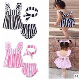 Barato Loja Outwear-Baby Outfits 2017 Summer Striped Girls Conjuntos de roupas Traje de 3 peças Algodão Outwear Shorts Sets Baby Girls Clothes Boutique Clothing 155