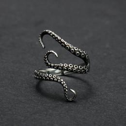 Nova Moda Unisex Retro Ajustável Prateado Oceano Octopus Tentáculos Dedo Aberto Anel Jóias Frete Grátis