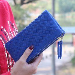 $enCountryForm.capitalKeyWord Canada - New Arrival Women Long Vintage Wallets European Style Hand Woven Wallet Lady Clutch Double Zipper Money Bag Card Purse ID Holder