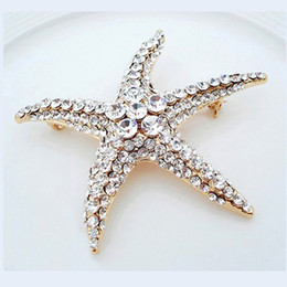 top indian girls NZ - Top Quality Shiny Crystal Rhinestone Starfish Brooch for Women Girl Gift Wedding Bride Brooches Jewelry Wholesale Xmas Gifts