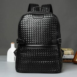 High Quality Backpack Brands Canada - Factory wholesale brand men bag hand woven leather backpack trend high quality leather man backpack college wind casual woven brand Backpack