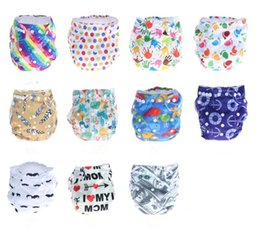 Discount christmas cloth diapers - Adjustable Size Baby Diaper Washable Baby Cloth Diaper Cover Waterproof Cartoon Feather Anchor Polka Dot Baby Diapers Re