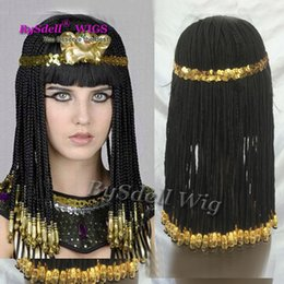 Discount cosplay cleopatra Cleopatra hairstyle braided hair wig, Egypt geography queen cosplay wig, The Great Egyptian Real Cleopatra Custom Synthe