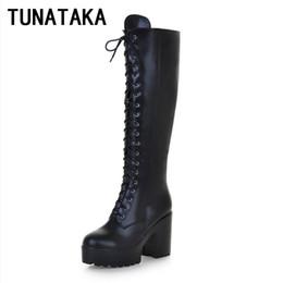 928084d407e Wholesale-Women s Lace Up Knee High Boots Thick Bottom High Heel Platform  Combat Boots Black Brown Blue Plus Size