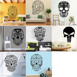 Cartoon Stick Wall NZ - Sugar Skull Wall Stickers Vinyl Scared Skull Wall Sticker Decal Cartoon Flowers Music Skull Decals Home Decor Free Shipping