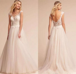 Discount chic sheath wedding dresses - Chic Elegant Cap Sleeves Soft Tulle A Line Wedding Dresses 2017 Backless Covered BUttons Applique Lace Beach Custom Made