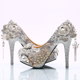 a2d9976ab3e885 Silver high heelS Size 12 online shopping - 2017 Gorgeous Silver Rhinestone  Wedding Shoes Rose Flower