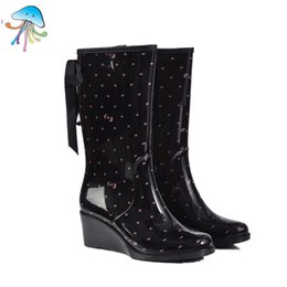 China Wholesale-Women's Waterproof Zipper Type Wedges Slip-resistant Rainboots High Barrel Women Rain Boots Ladies Fashion Water Shoes for Sale cheap rain wedges suppliers