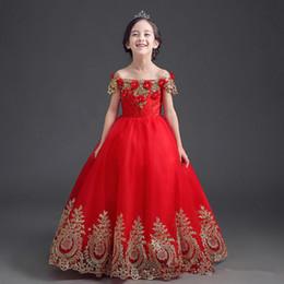 2017 Çarpıcı Kırmızı Bahar Yaz Scoop Balo Çiçek Kolsuz Organze Fermuar Çiçek Kız Elbise Kız Pageant elbise 1 T-11 T indirimde