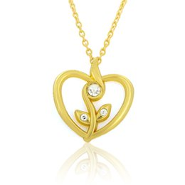 Pendants Designs For Girls NZ - Simple Design Hollow Flower Silver Gold Color Heart Shape Pendant Necklace With Link Chain for Women Teen Girls