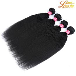 $enCountryForm.capitalKeyWord UK - Longjia Hair Company Unprocessed 100% Virgin Brazilian Human Hair Weave Yaki Straight Weave 3 Bundles Hair Weft Natural Color Free Shipping