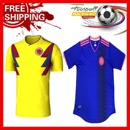 13366cd7a20 ... Top Quality 2017 2018 WORLD CUP 18 COLOMBIA National Team Home Away  Soccer Jersey FALCAO JAMES ...