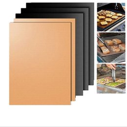 oven plates UK - Teflon BBQ Grill Mat for Barbecue Grill Sheet 40*33cm Cooking Baking and Microwave oven PTFE Coated Fiberglass Fabric Reusable Easy Clear