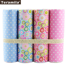 Clothes Bundles Canada - 4PCS lot 40cmx50cm Floral Dots Teramila Cotton Fabric Fat Quarter Bundle Quilting Patchwork Sewing Clothe Bedding Tissus Tilda