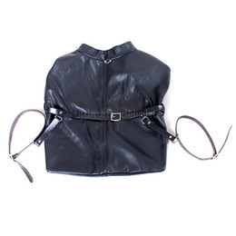 Bicycling Gear Australia - Free shipping Black Leather Bicycle Positioning Bondage Lockable Suit Submissive Slave Dog Pig Humiliated Gear BDSM Body Fix Kit